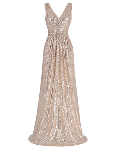 Kate Kasin Prom Party Beaded Sequined Bridesmaids Wedding Dress Rose Gold Size 6 KK199