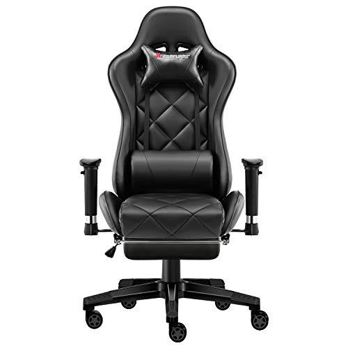 JL Comfurni Gaming Stuhl Bürostuhl mit Fußstütze Ergonomischer Drehstuhl Chefsessel Computerstuhl höhenverstellbar Schreibtischstuhl mit verstellbaren Armlehnen aus Kunstleder Schwarz