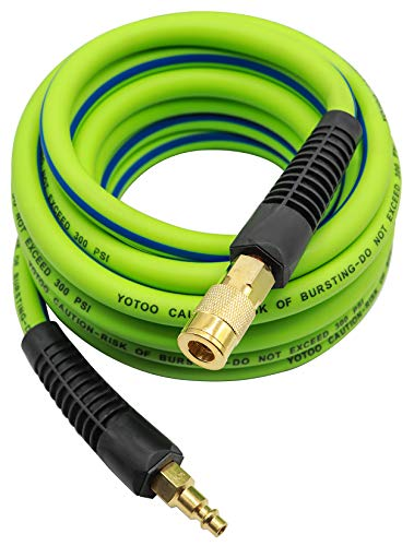 YOTOO Hybrid Air Hose 3/8-Inch by 25-Feet 300 PSI Heavy Duty, Lightweight, Kink Resistant, All-Weather Flexibility with 1/4-Inch Industrial Quick Coupler Fittings, Bend Restrictors, Green+Blue
