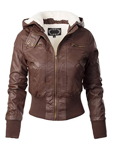 Design by Olivia Women's Faux Leather Detachable Hood Sherpa Lining Bomber Jacket Coffee L