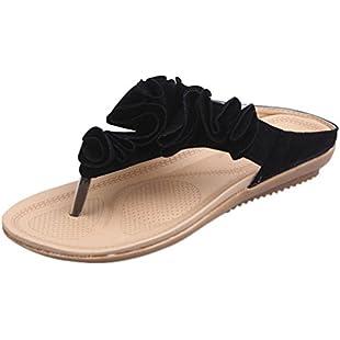 Women Slipper, Quistal Ladies Pretty Floral Flat Thong Sandal Flip Flops Simple Slip On Summer Casual Flat Sandals Shoes (UK5, Black)