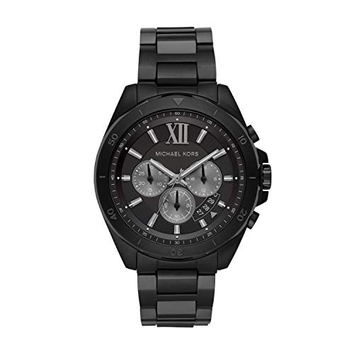 Michael Kors Men's Brecken Quartz Watch with Stainless Steel Strap, Black, 22 (Model: MK8858)