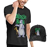Thimd Camiseta de Manga Corta para Hombre,Gorra de béisbol Combinación Negro The Jungle Book Bear Baloo T Shirt and Denim Baseball Dad Hat