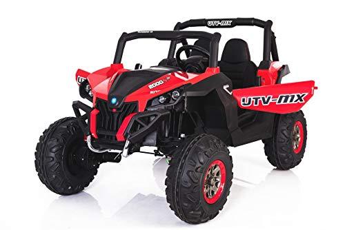 RIRICAR El Coche eléctrico de los niños Nuevo RSX Buggy 2 x 12V Rojo - 2.4Ghz, 4 X Motor, Control Remoto, Dos Asientos, Llave de Encendido, Ruedas de EVA Suave, USB, Tarjeta SD