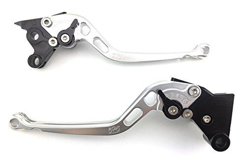 Paire de leviers longs en aluminium anodisé pour Ducati Multistrada MTS 1200/ENDURO/ENDURO PRO 2015 2016 2017 (Argent/Noir)