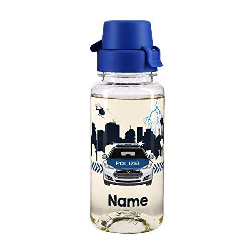 Striefchen® Trinkflasche für Jungen 400 ml mit Namensaufdruck BPA frei zum Schulanfang oder für den Kindergarten Polizei