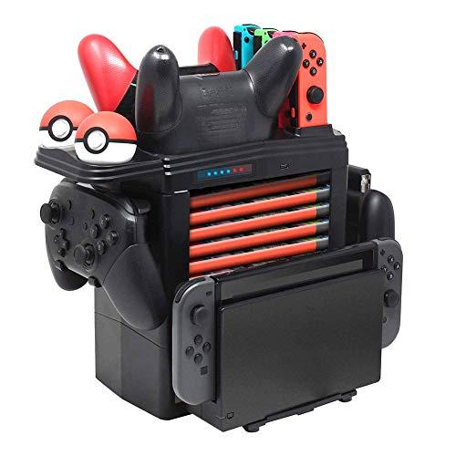 Tidoom Interrupteur sans fil pour manette de jeu PS3 Multifonction Support Tour Interrupteur Contrôleur Console Host Boîte de rangement Compatible pour Nintendo Switch Pro Manette Joy-Con Pokemon Ball