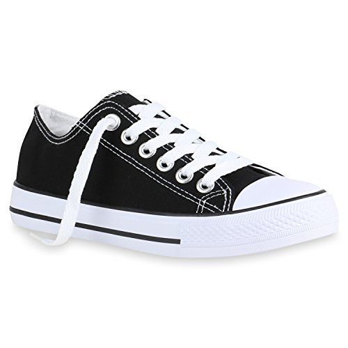 stiefelparadies Damen Schuhe Sneaker Low Basic Turnschuhe Freizeit Schnürer Stoff Schuhe 156275 Schwarz Cabanas 39 Flandell