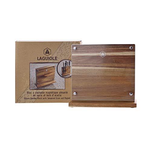 LAGUIOLE - Laguiole 40268431 Blocco di appoggio per coltelli magnetici in legno di Accacia (25 cm) con protezione in vetro temperato per 6 coltelli da cucina. -