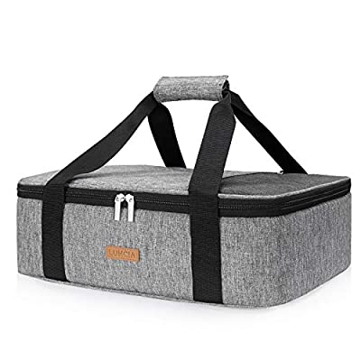 """LUNCIA Insulated Casserole Carrier for Hot or Cold Food, Lasagna Lugger Tote for Potluck Parties/Picnic/Cookouts, Fits 9""""x13"""" Baking Dish, Grey"""