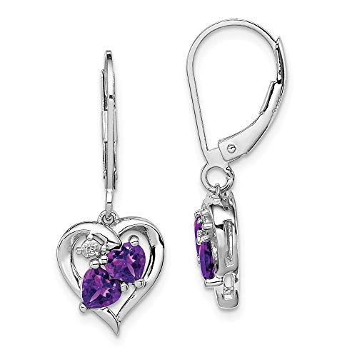 925 Sterling Silver Polished Leverback Amethyst Diamond Earrings Measures 28x11mm Wide Jewelry Gifts for Women