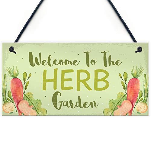 RED OCEAN Garden Signs HERB GARDEN Sign Allotment Home Veg Pots Hanging Sign Garden Lover Gift