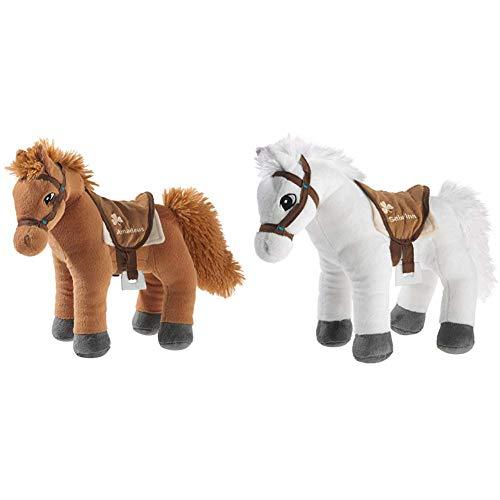 Bibi & Tina 637771 Plüschtier, Pferd, braun & 637573 Plüschtier, Pferd, weiß mit braun