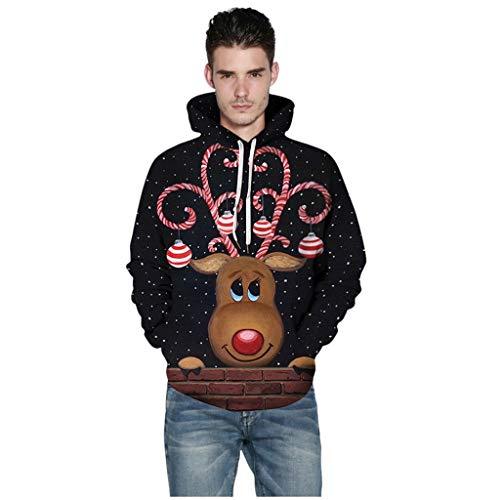 ODRD Weihnachtspullover Merry Christmas Herren 3D Elche Hoodie - Xmas Unisex Sweatshirt Sweater Hässliche Pulli Lustig Strickpullover Ugly Weihnachtspulli Damen Weihnachtsparty (Schwarz, M)