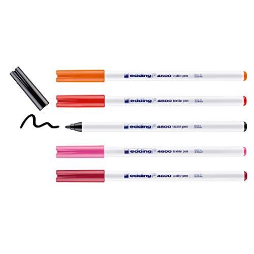 edding 4600 Textilstift - schwarz, rot, orange, pink, karmin-rot - 5 Stück - Rundspitze 1 mm - Textilstifte waschmaschinenfest (60 °C) zum Stoff bemalen - Stoffmalstift