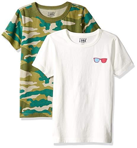LOOK by Crewcuts - Camiseta de manga corta para niño, estampado/liso (2 unidades), Camo/Ivory, 6-7
