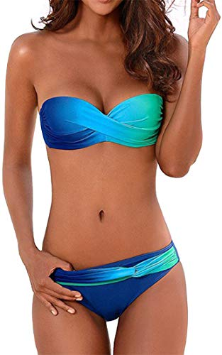 EUDOLAH Damen Bandeau Padded Bikini-Set Trägerlosen Badeanzug Push Up (Medium Z-Türkis)