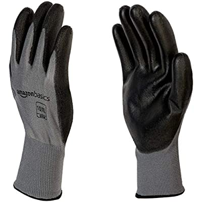 AmazonBasics Polyurethane Coated Work Gloves, Polyester Liner Fiber, Touch Screen, Grey, Size 10, XL, 12-Pair