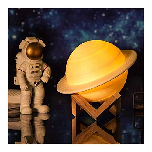 DHXX 3D Moon Lamp, Mayround Vollmond-Lampen-Licht, 3D-Druck dimmbar Moderne Stehleuchte [Touch Control] [USB-Lade] White/Warm Yellow Moon Nachtlicht-Lampe