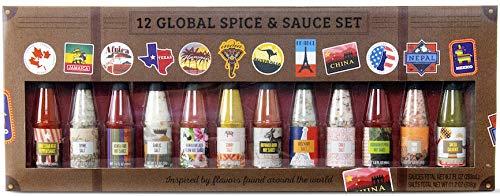 Modern Gourmet Foods, Spezie Salate e Salse al Peperoncino: Edizione Mondiale, 45 - 54 ml ciascuno, 12 Salse Uniche Sali e Peperoncino da utilizzare su Barbecue, Curry, Insalata ed Altro