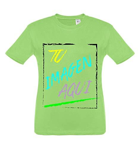 Oneroi Custom Camiseta Infantil Personalizada con Foto y Texto, t-Shirt Personalizable con imagenes y Texto (Manzana, 6A)