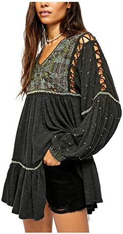 Free People Womens Much Love Cotton Boho Tunic Top Black XS product image