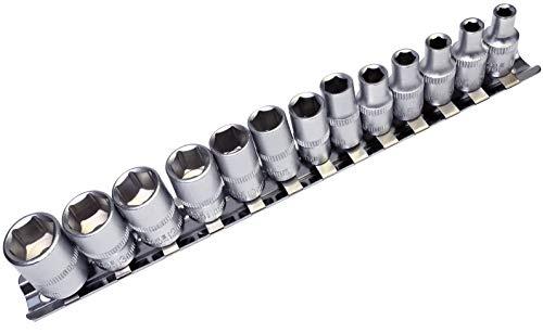 AERZETIX - Juego de 13 vasos para atornillado - huella 6 lados Allen - para llave de carraca 1/4' - en Cr-V - C47116