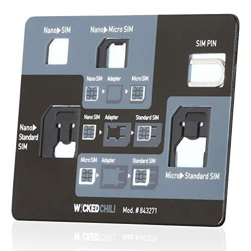 Wicked Chili SIM Adapter Tool im Kreditkarten Format (5-in-1 Simkarten Set für Handy, Tablet, Smartphone) Nano, Micro, Standard, Eject Pin, Organizer für alle Simkarten Formate