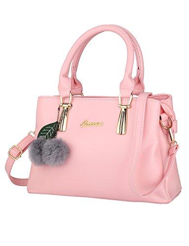 Frauen PU Leder Henkeltaschen mit Hairball Vintage Tasche Handtasche Umhängetasche Damen (Pink)