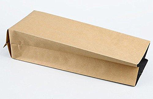 50×Chytaii Kraftpapierbeutel Papiertüten Kraftpapiertüten Aluminumfolie Tee Verpackungstasche mit Boden für Tee Kaffeebohnen Kekes Süßigkeiten Zucker Lagerung Braun 18 * 6 * 4 CM