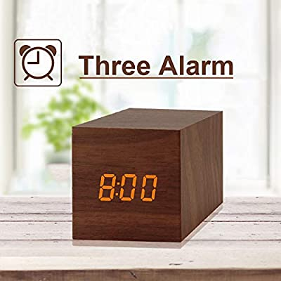 Digital Alarm Clock, with Wooden Electronic LED Time Display, 3 Alarm, 2.5-inch Cubic Small Mini Wood Made Electric Clocks for Bedroom, Bedside