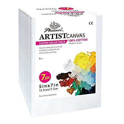PHOENIX Pre Stretched Canvas for Painting - 5/8 Inch Profile of Super Value Pack for Oil & Acrylic Paint