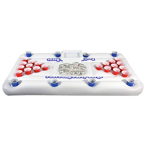 GoPong Original Pool Party Barge Floating Beer Pong Table with Cooler, White, 6-Feet