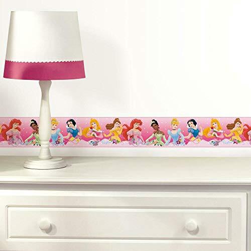 RoomMates RMK4397BD Disney Princess Dream From The Heart - Cenefa de papel pintado, color rosa, amarillo y azul