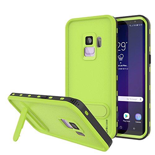 Punkcase Galaxy S9 Wasserdichte Schutzhülle [Kickstud Serie] [IP68 Zertifiziert] [Stoßfest] [Schneefest] Armor Schutzhülle mit integriertem Ständer + Displayschutzfolie für Samsung Galaxy S9 (Grün)