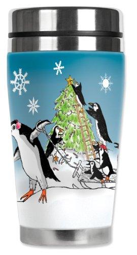 Mugzie Thermobecher mit isoliertem Neoprenanzug, Pinguin-Weihnachtsbaum, 470 ml