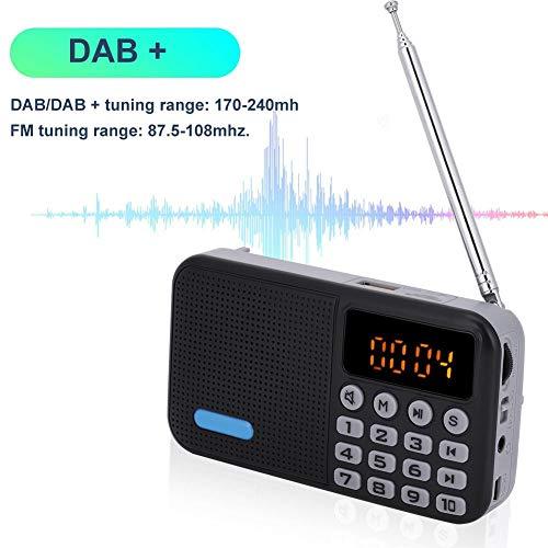 Wendry Draagbare DAB-radio, DAB-digitale radio + FM-radio-Bluetooth-ontvanger, TF-kaart MP3-speler 32G hoogwaardige stereo DAB-radio, zwart