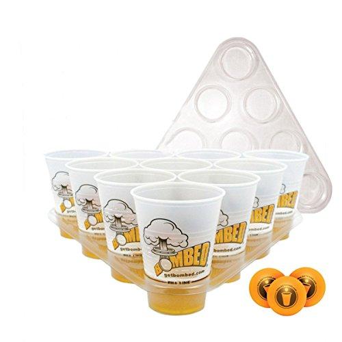 Inovey Beer Pong Beber Juego Juguetes Kit 20 Copas 3 Bolas 2 Racks Navidad Parte Pub Barbacoa Regalo