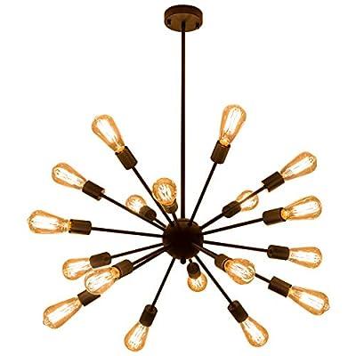Weesalife Pendant Light Sputnik 18-Lights Chandeliers Matte Black Adjustable Industrial Retro Hanging Light Fixture for Living Room, Dining Room, Kitchen, Loft, Farmhouse, Sloped Ceiling