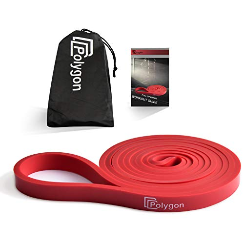 Polygon Pull Up Assist Resistance Exercise Bands, Heavy Duty Assistance Loop Mobility Band, for Body Stretching, Muscle Toning, Powerlifting, Resistance Training, Physical Therapy(Red)