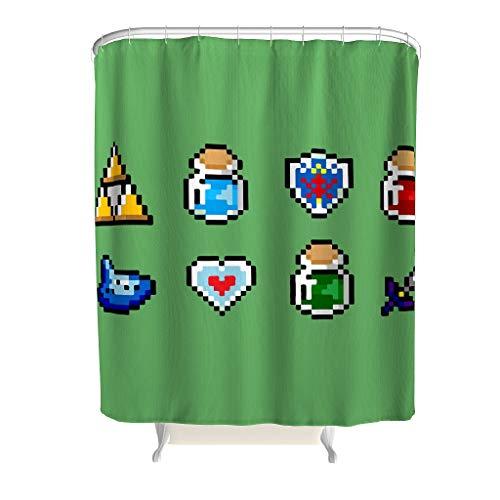 XHJQ88 Gree Sword-Zelda Thema Ontwerp Douche Gordijn Gepersonaliseerde Wasbare Gordijnen met Ringen - Game Love Zwart voor Appartement Decor