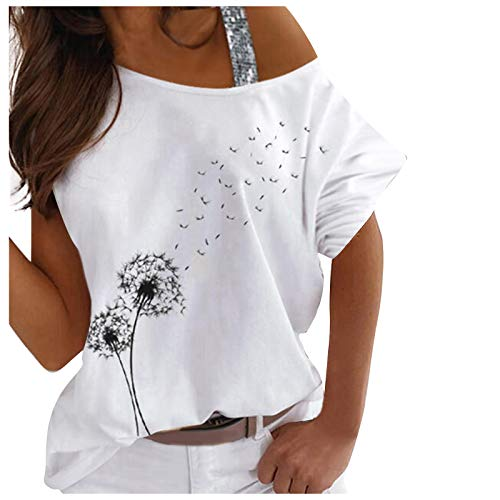 FMYONF Camiseta de mujer con hombros descubiertos, manga corta, sudadera, sexy, hombros fríos, elegante, impresión gráfica, blusa de verano Blanco XL