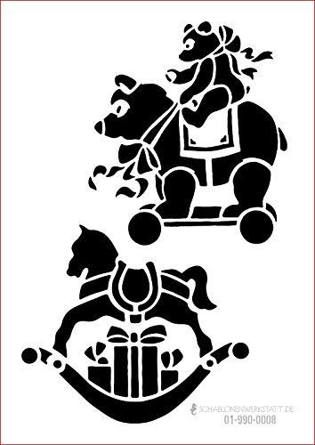 graphits Schablone Weihnachten Schaukelpferd, 01-990-0008, Teddybär, Fensterschablone, Dekoschablone, Größe anpassbar