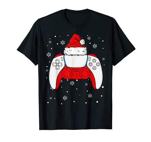 Navidad Santa Gamer Controller Niños Niños Adolescentes Juegos Navidad Camiseta