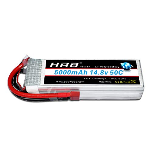 HRB 5000mAh 14.8V 50C 4S Lipo Akku Pack for FPV Racing Quadcopters Diverse Racing Cars Helikopter Flugzeuge und Modellboote (Deans T Stecker)