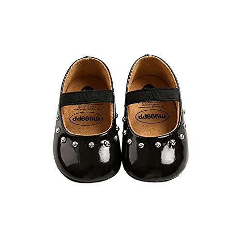 FURONGWANG6777BB Zapatos de niña bebé Lindo Color sólido Antideslizante PU Zapatos de Cuero Niñas niñas Prewalker First Walkers (Baby Age : 7-12 Months, Color : Black)