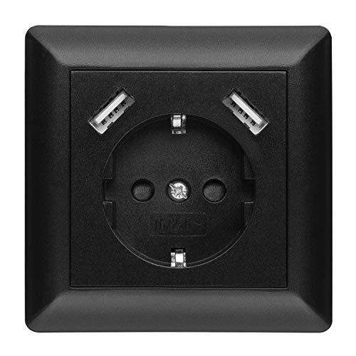 230 V Steckdose mit 2 x USB Ladegeräten, Schuko Wandsteckdose Unterputz, passend für Gira System 55, Schwarz, TÜV Rheinland zertifiziert (Einfachsteckdose)