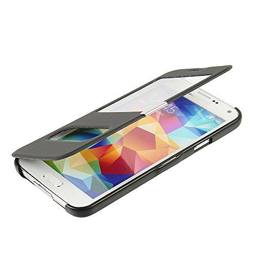 MTRONX für Samsung Galaxy S5 Hülle, Case Cover Schutzhülle Tasche Etui Klapphülle Dual Fenster-Ansicht Magnetisch Twill PU Leder Dünn Folio Flip für Samsung Galaxy S5 - Schwarz(MG2-BK)