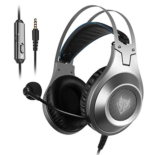 Gaming Headset for Xbox One, PS4, PC, Controller, NUBWO Wired Gaming Headphones with Microphone and Volume Control for PC / Ps4 / Xbox one 1 / Phone/Laptop, Switch Games (Silver)