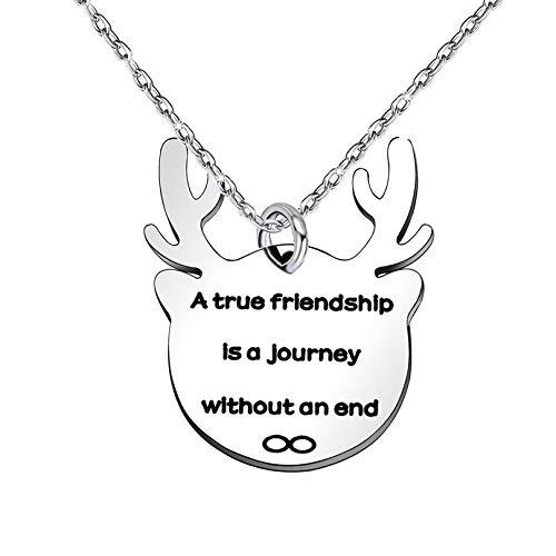 Vriendschap Geschenken Beste Vrienden Ketting Vrouwen Mannen Afstuderen Lange afstand - Een echte vriendschap is een reis zonder een einde